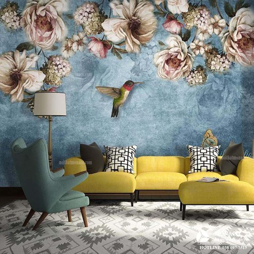40 mẫu thiết kế nội thất phòng khách ứng dụng ảnh dán tường decor