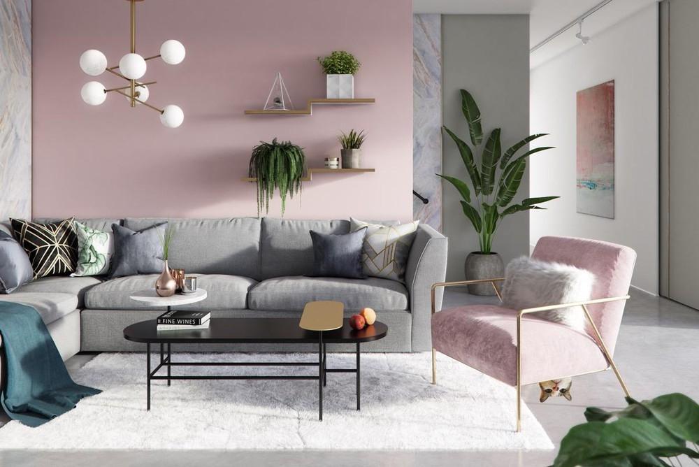 Bật mí những mẫu thiết kế phòng khách màu hồng nổi bật năm 2019