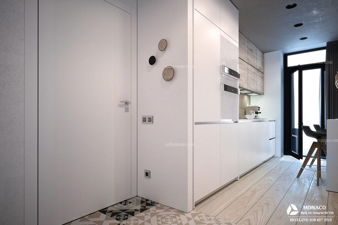Thi công căn hộ  siêu nhỏ kết hợp phòng khách, phòng ăn, nhà bếp và phòng ngủ trong cùng một không gian tại Hà Đông.