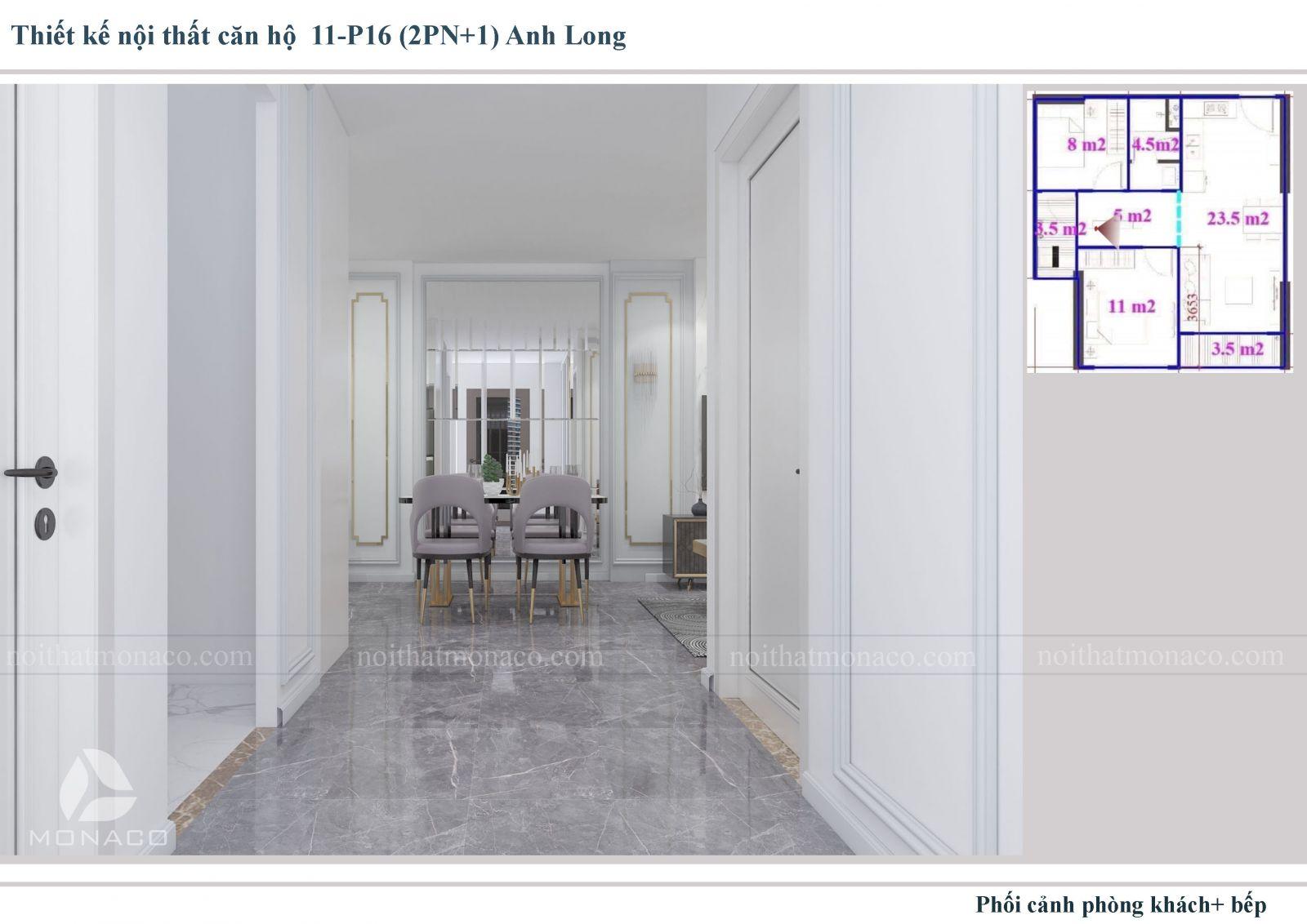Thiết kế nôi thất phòng khách và bếp 2 chung cư Vinhomes Ocean Park