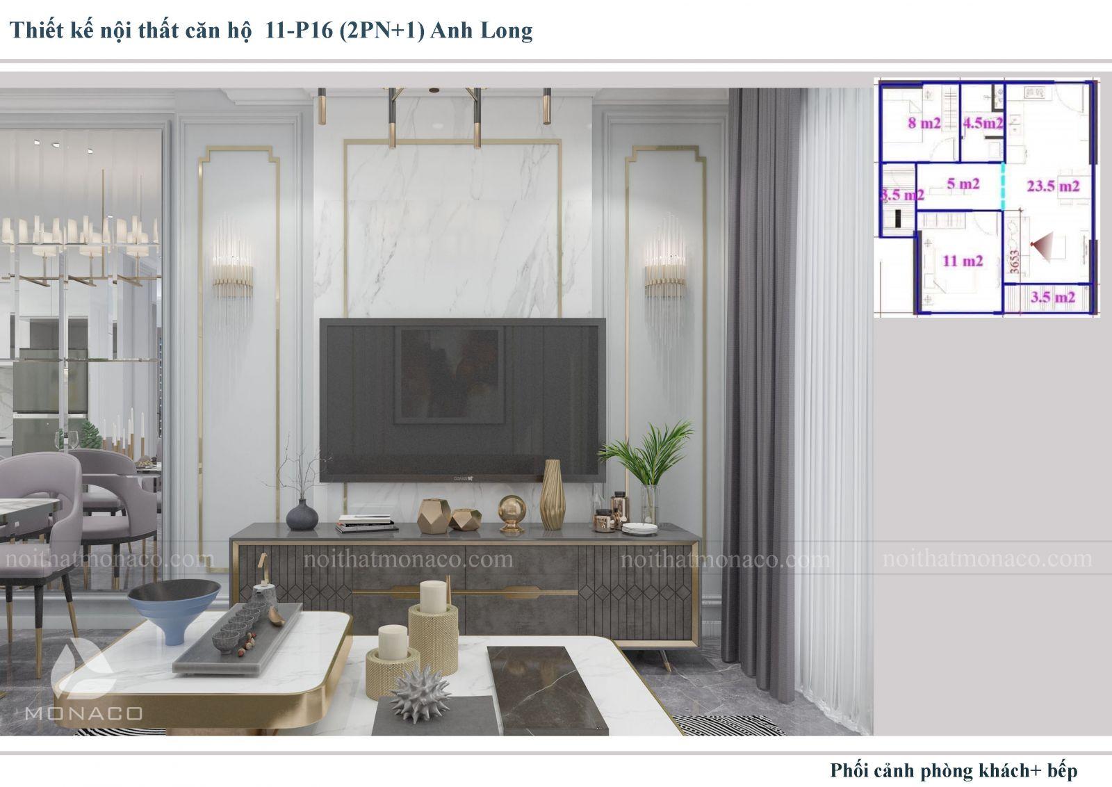 Thiết kế nội thất phòng khách và bếp chung cư Vinhomes Ocean Park