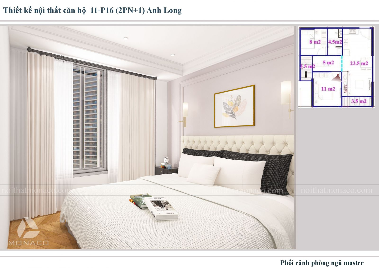 Thiết kế nôi thất phòng ngủ 2 chung cư Vinhomes Ocean Park