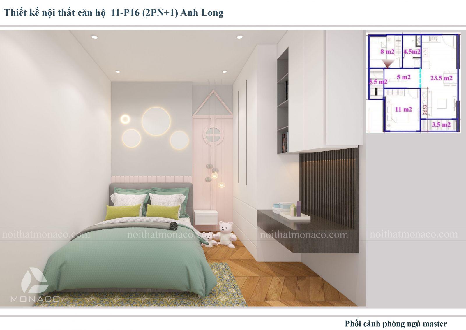 Thiết kế nôi thất phòng ngủ cho bé chung cư Vinhomes Ocean Park