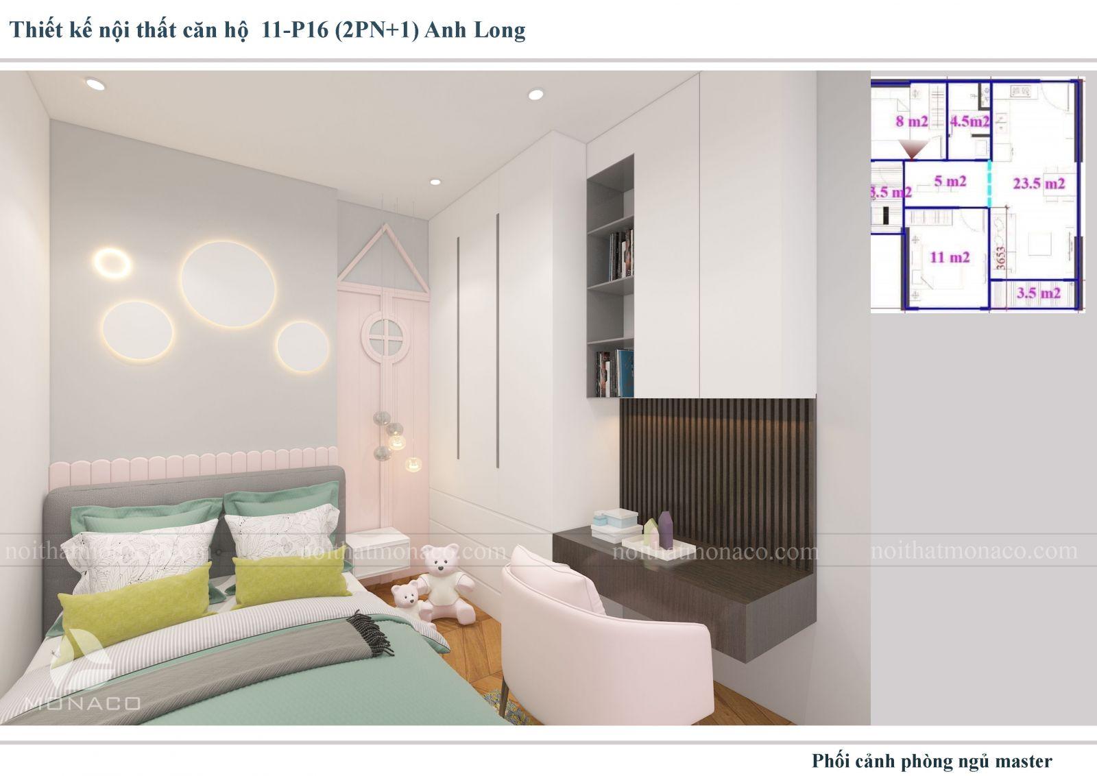 Thiết kế nôi thất phòng ngủ cho bé 2 chung cư Vinhomes Ocean Park