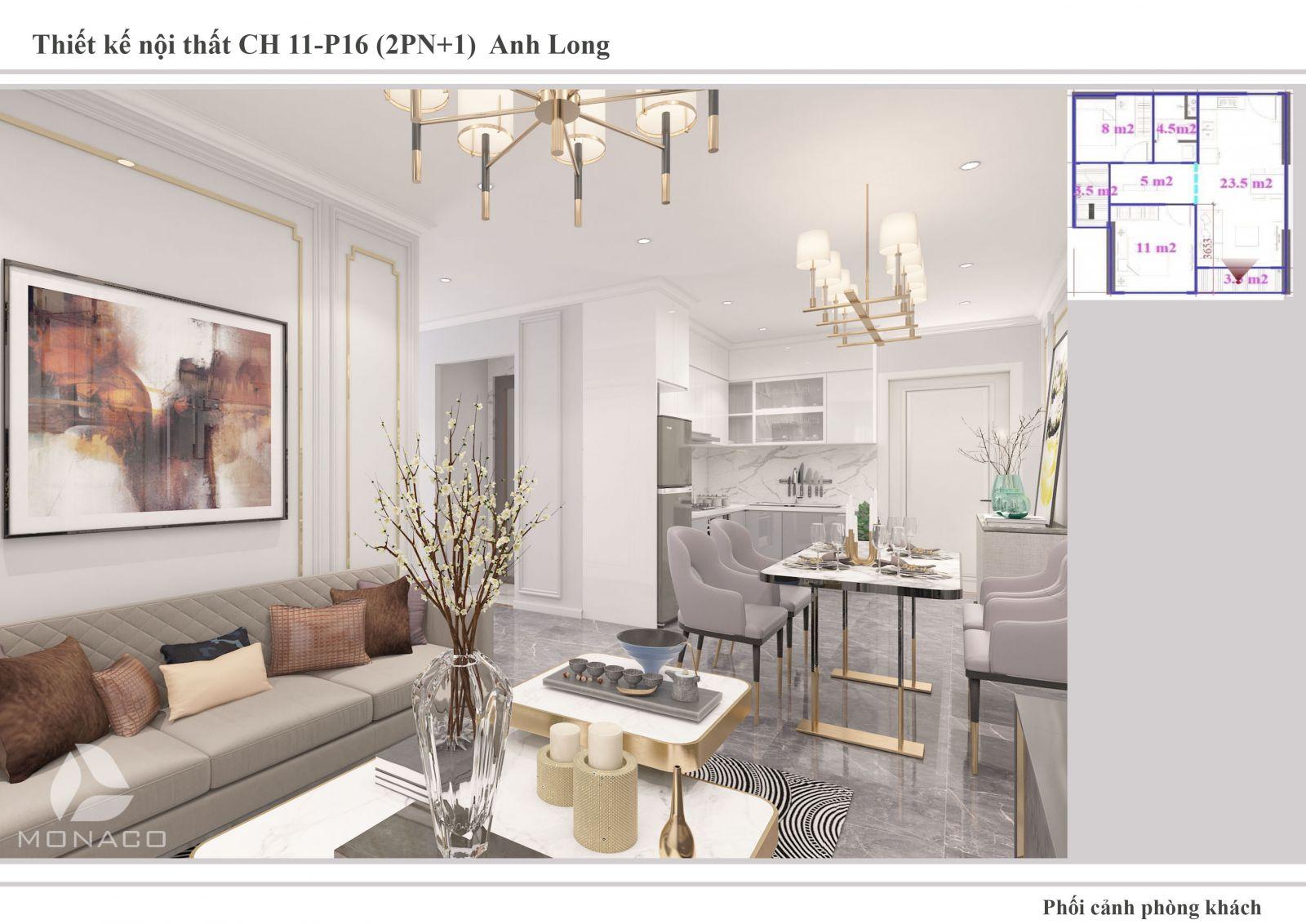 Thiết kế nội thất phòng khách chung cư Vinhomes Ocean Park