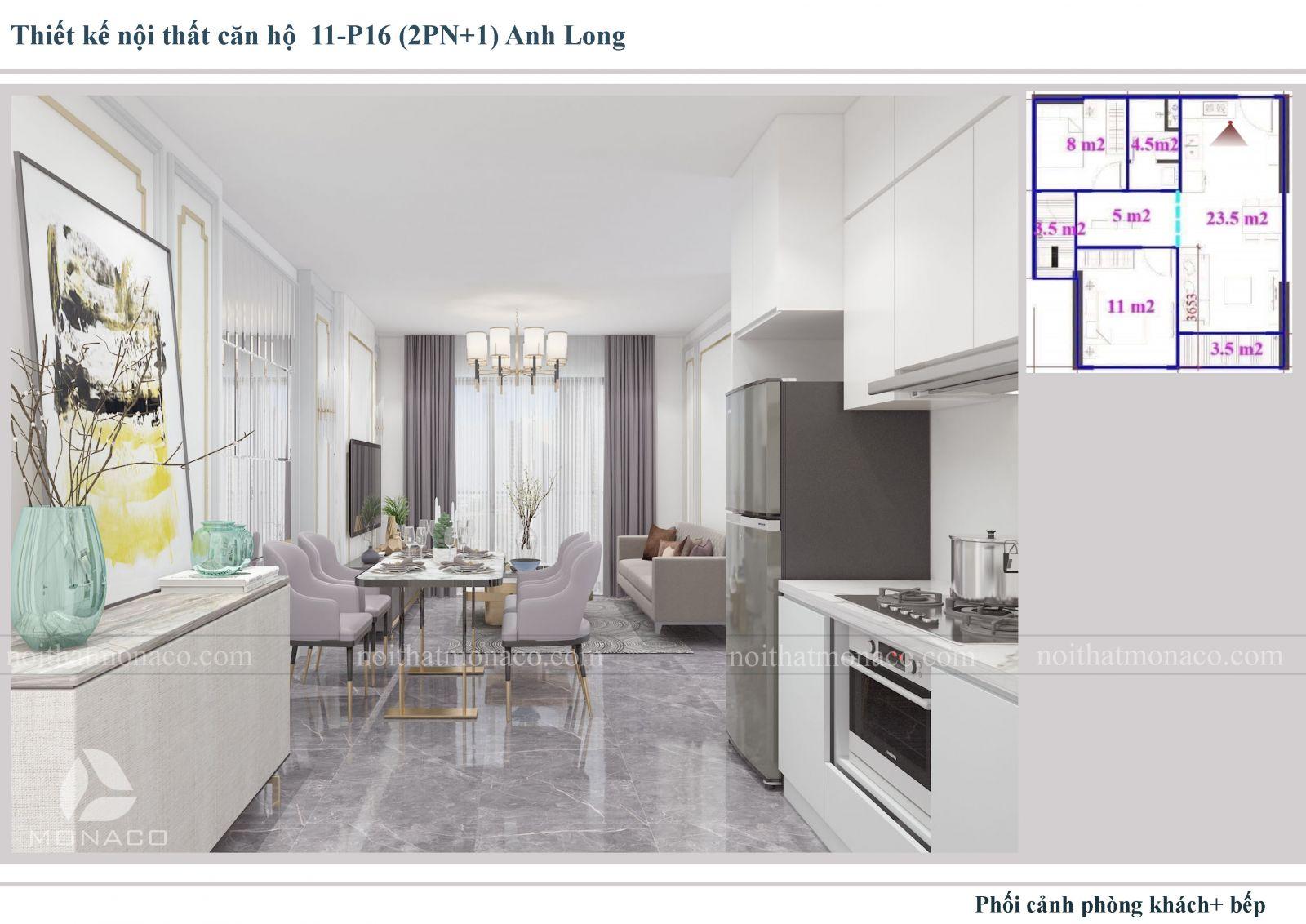 Thiết kế nôi thất phòng khách và bếp 4 chung cư Vinhomes Ocean Park