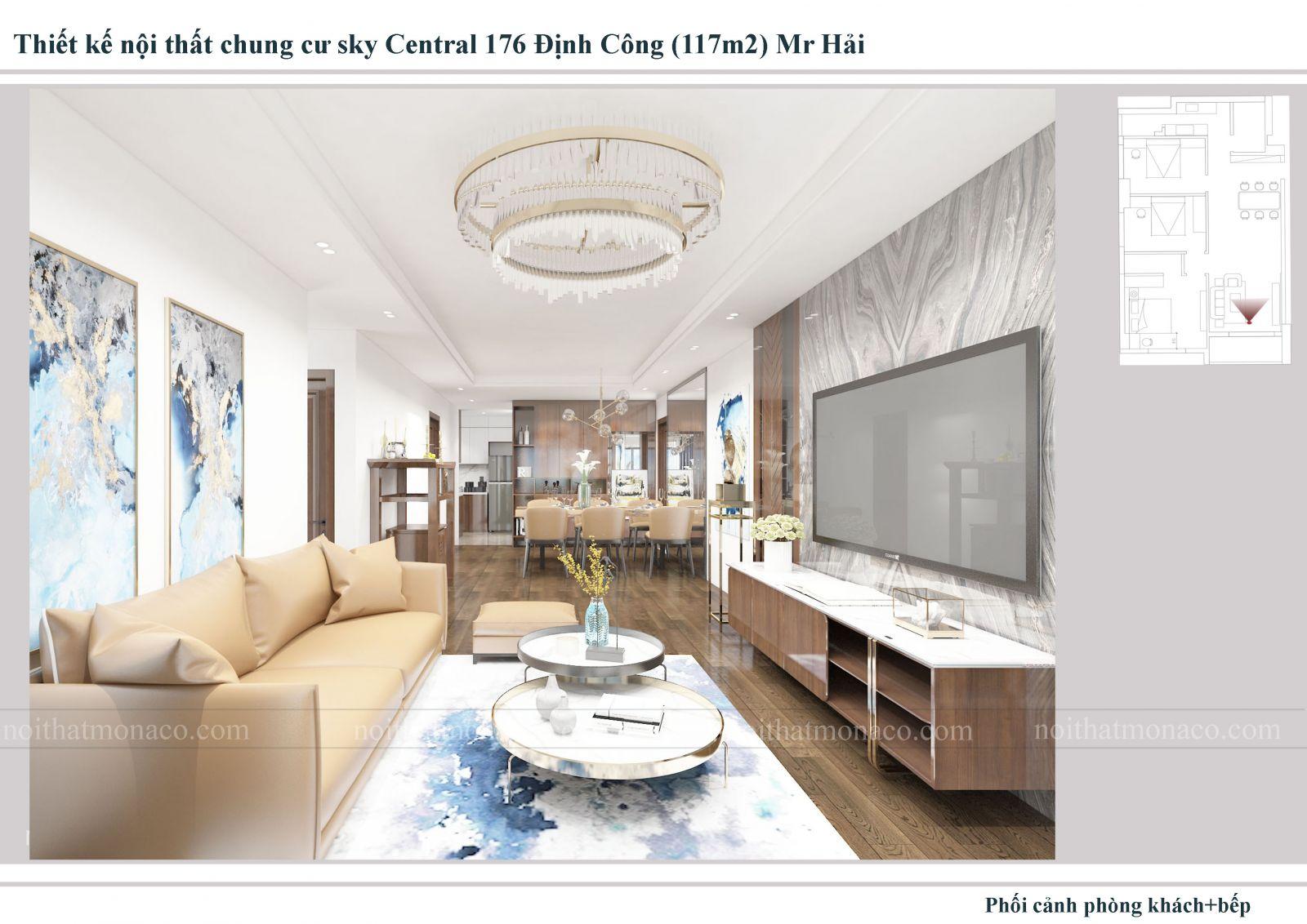 Thiết kế nội thất căn hộ 3 phòng ngủ chung cu sky central