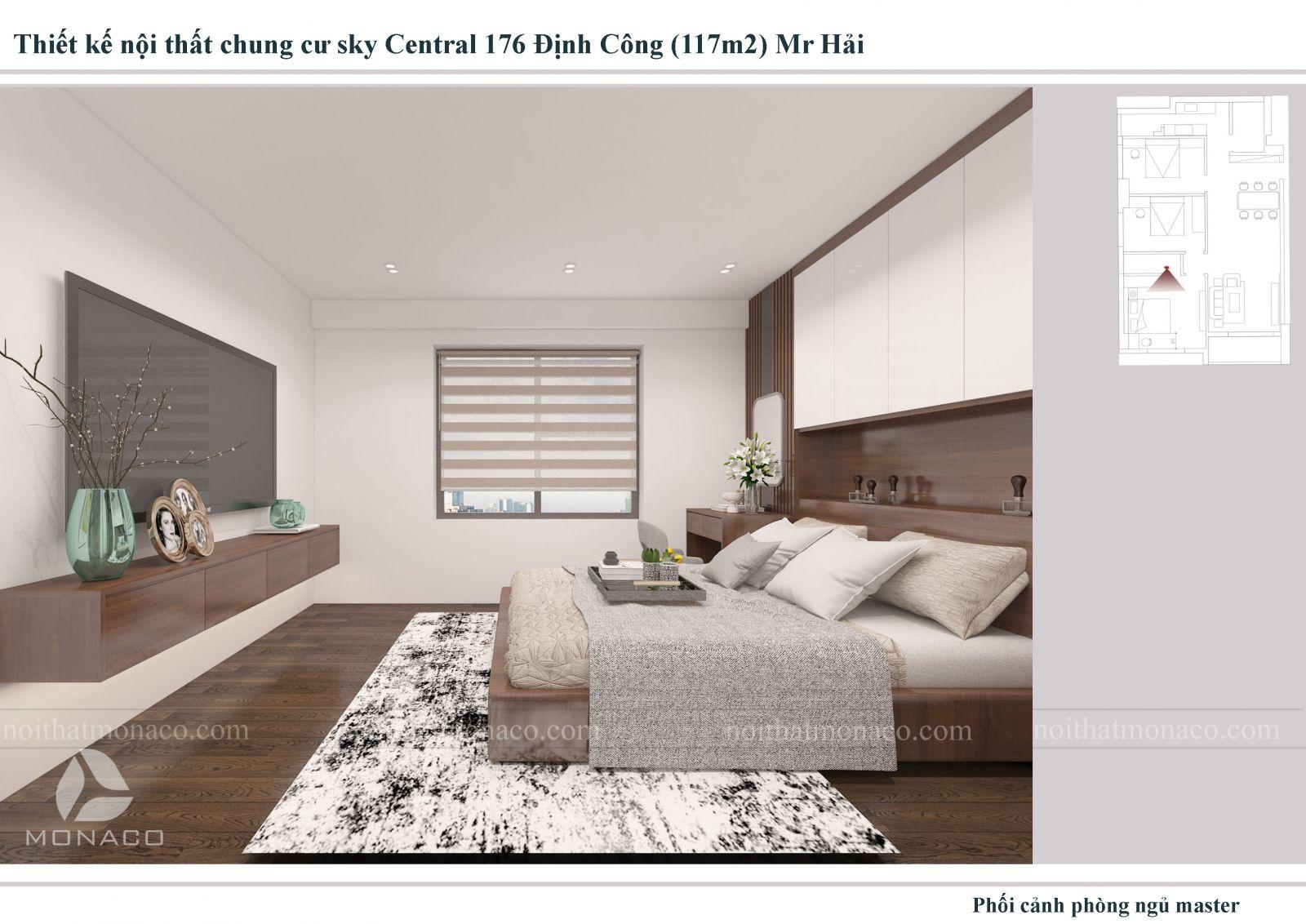Thiết kế nội thất  phòng ngủ 2 chung cu sky central