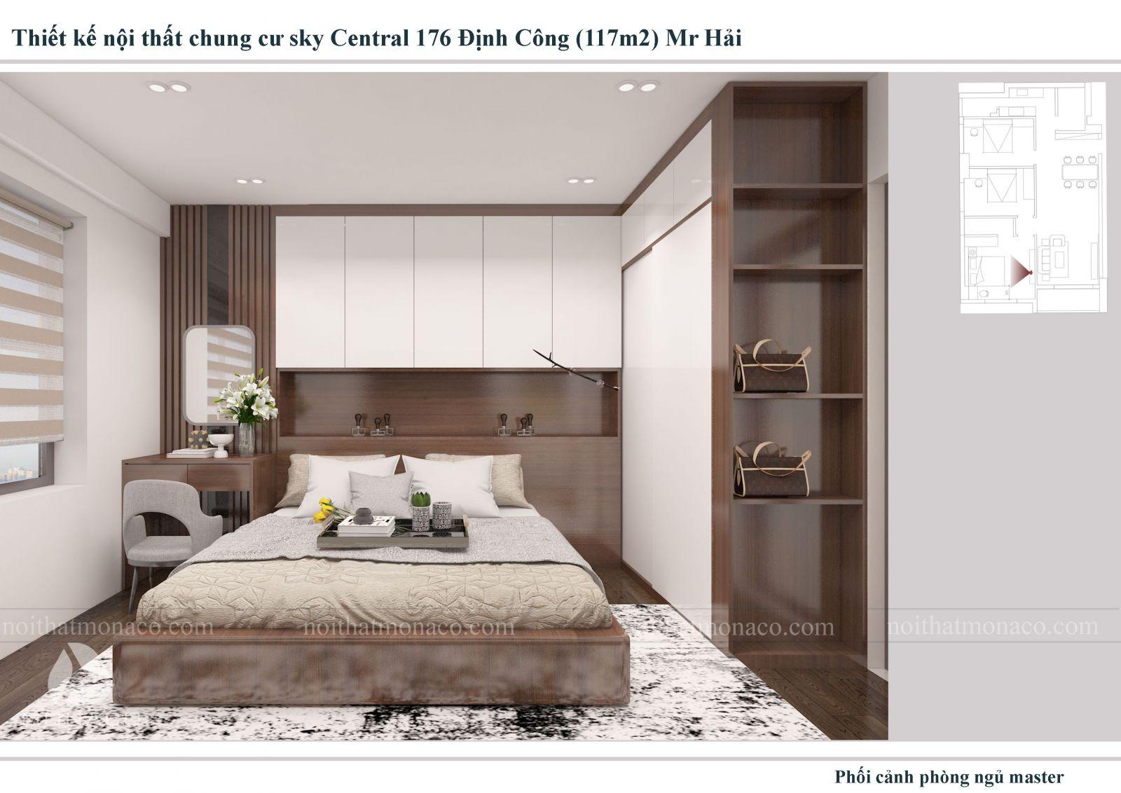 Thiết kế nội thất  phòng ngủ chung cu sky central
