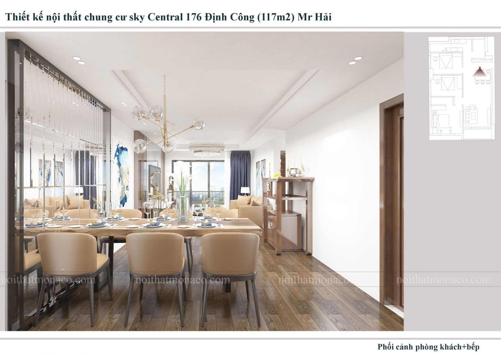 Thiết kế nội thất phòng ăn chung cu sky central