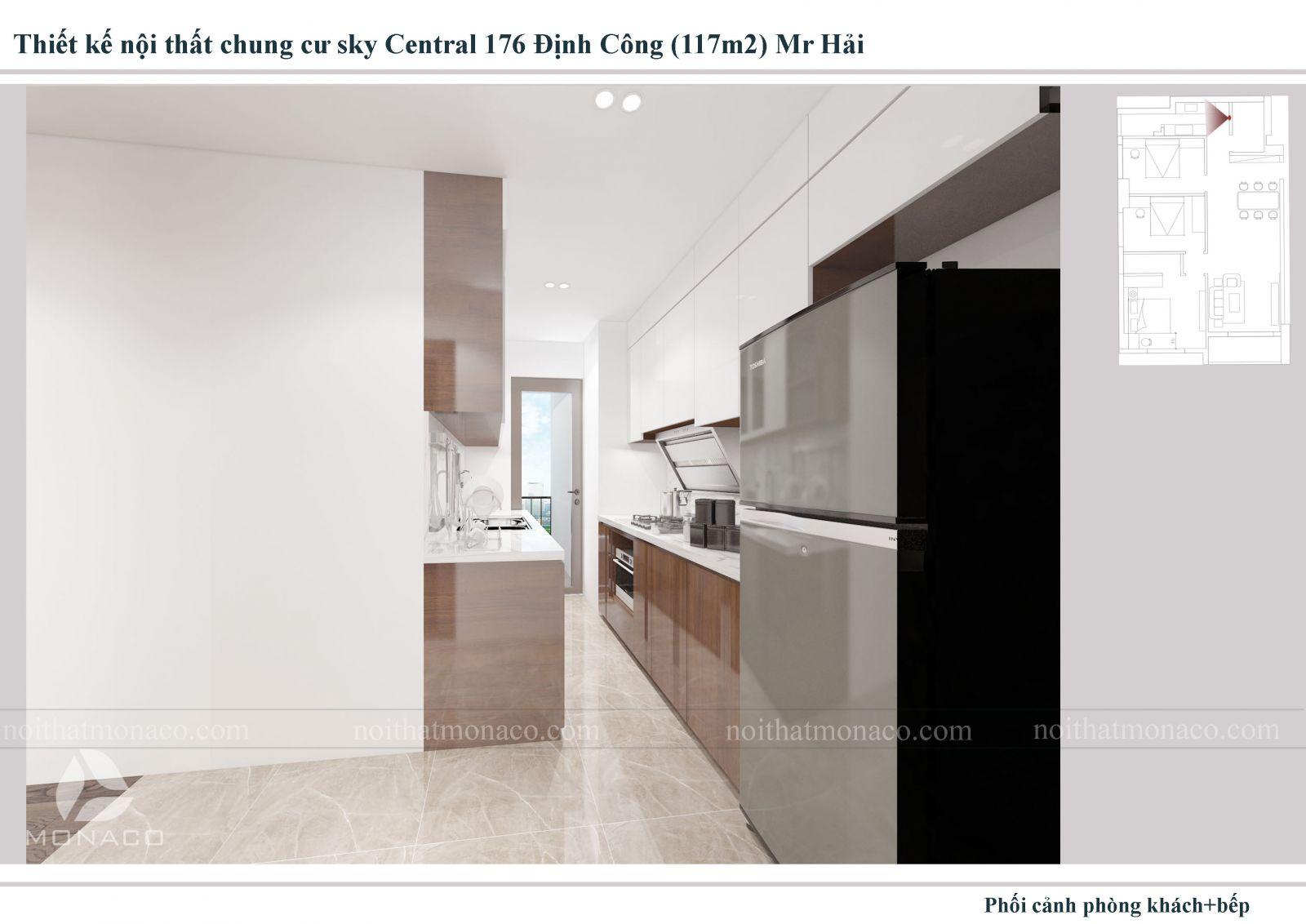 Thiết kế nội thất khu rửa phòng ăn chung cu sky central