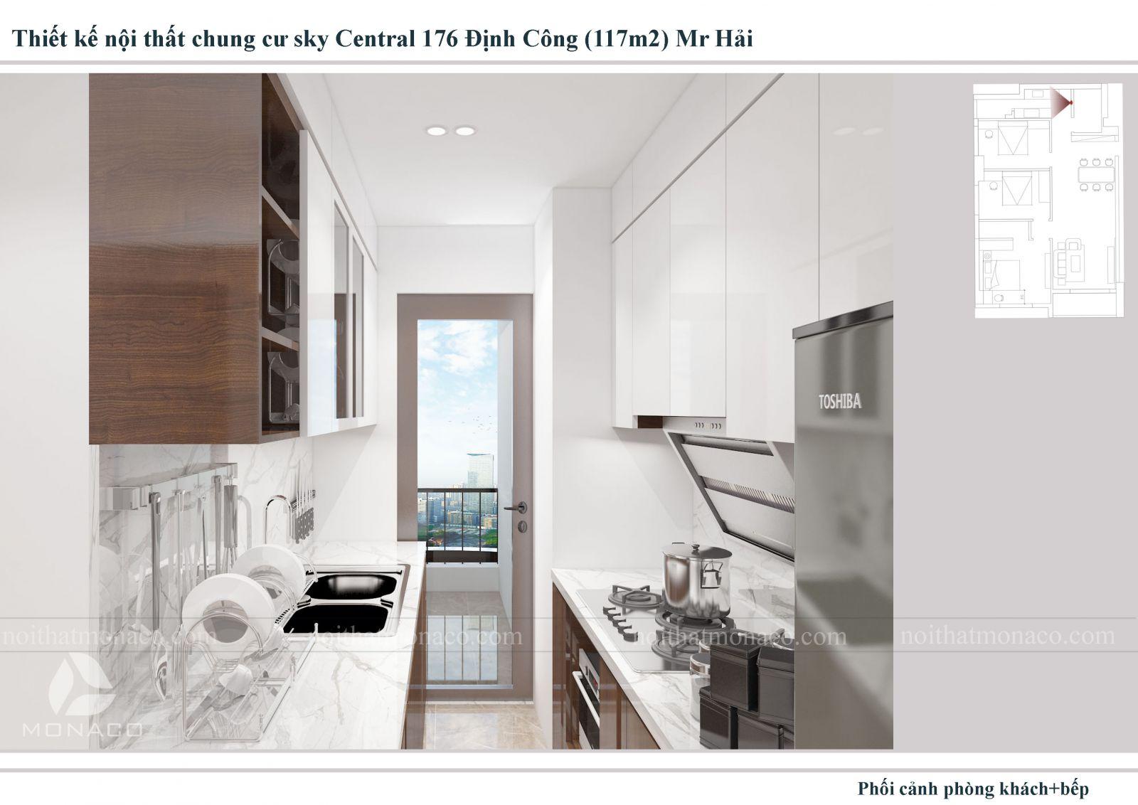 Thiết kế nội thất phòng bếp chung cu sky central