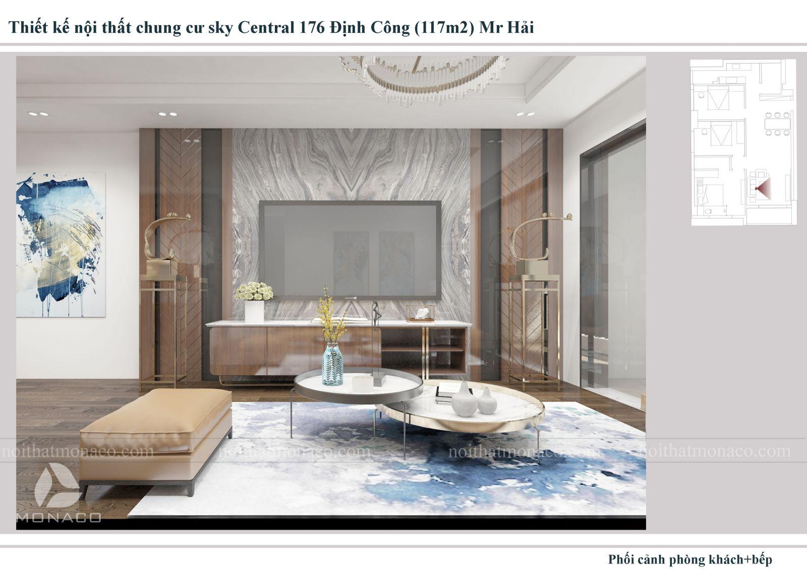 Thiết kế nội thất phòng khách chung cu sky central
