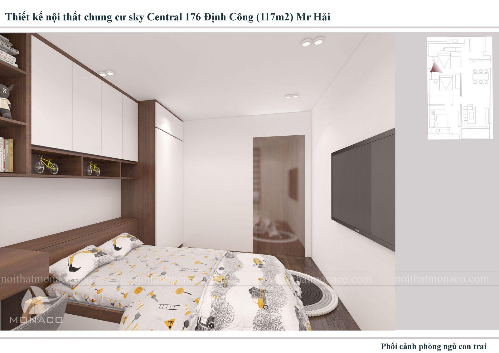 Thiết kế nội thất phòng ngủ trẻ em 2 chung cu sky central
