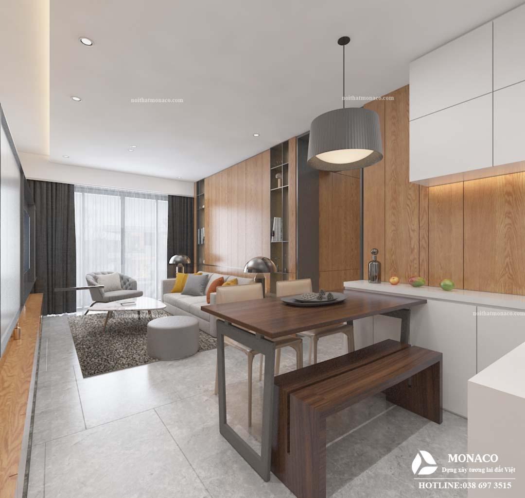 Thiết kế nội thất chung cư hiện đại Ngoại Giao Đoàn chị Hương