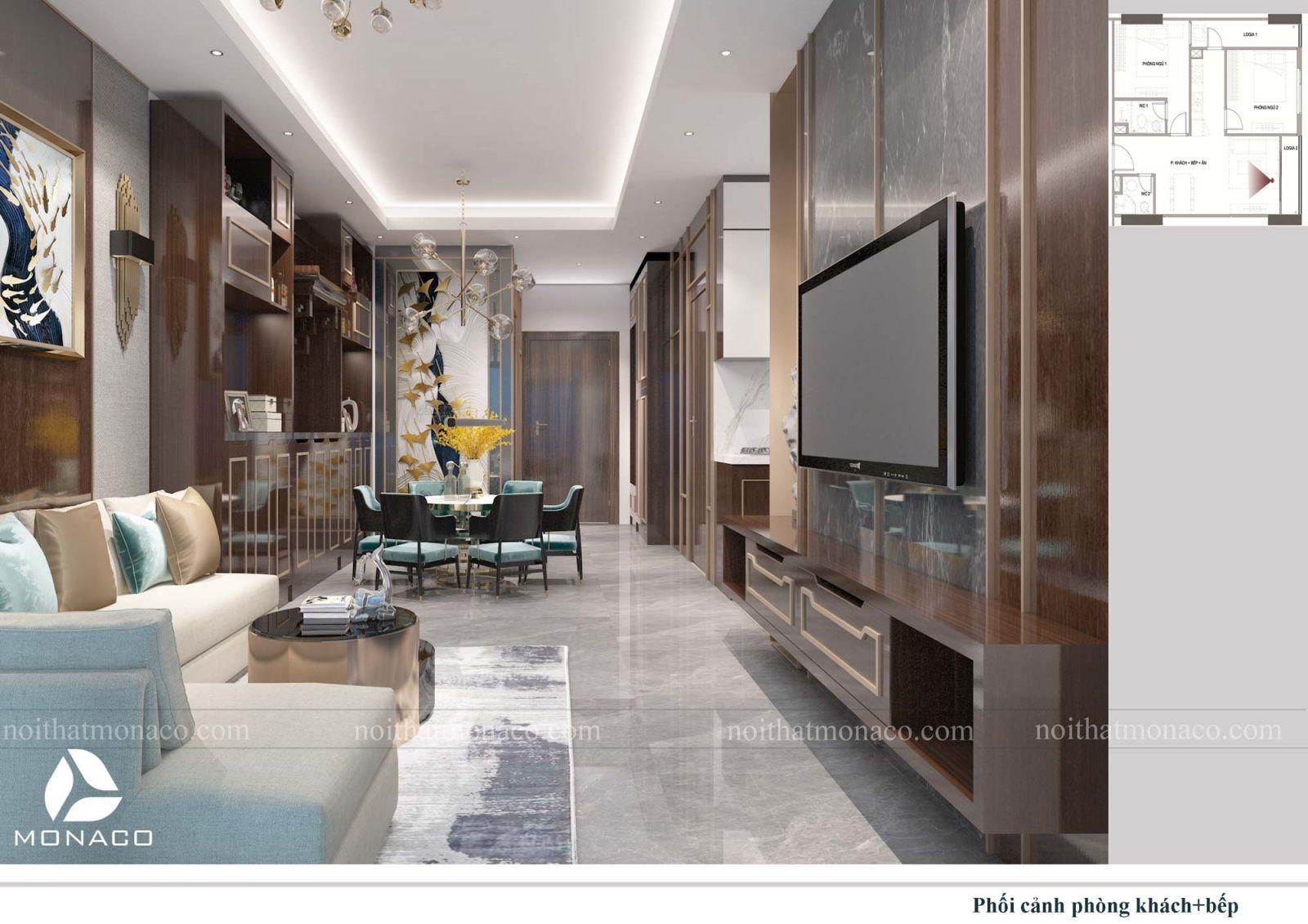 Thiết kế nội thất phòng khách + bêp chung cư rose tower