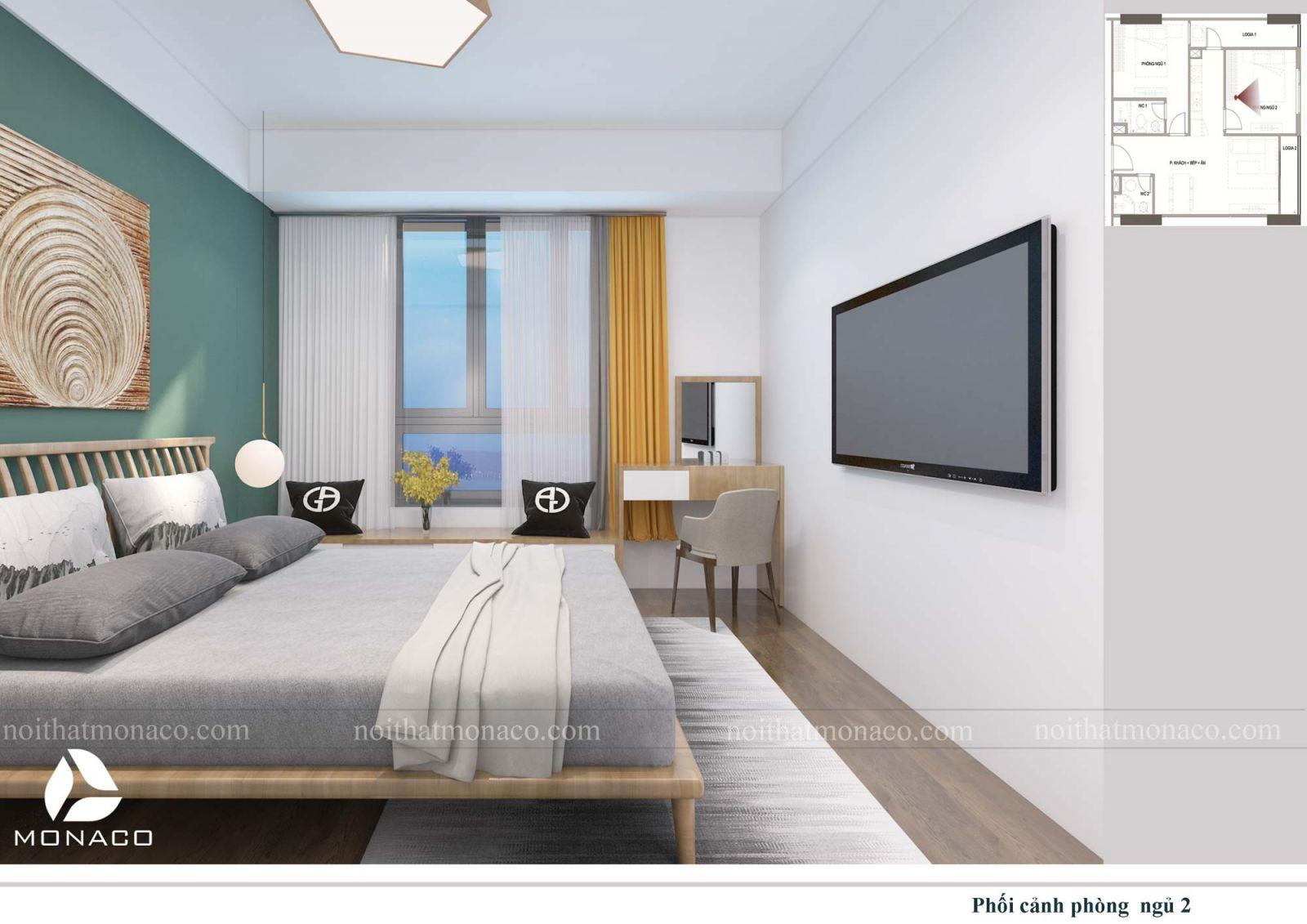 Thiết kế nội thất phòng ngủ nhỏ 2 chung cư rose tower