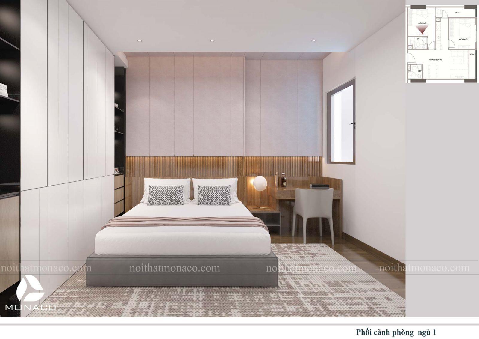 Thiết kế nội thất phòng ngủ lớn 3 chung cư rose tower