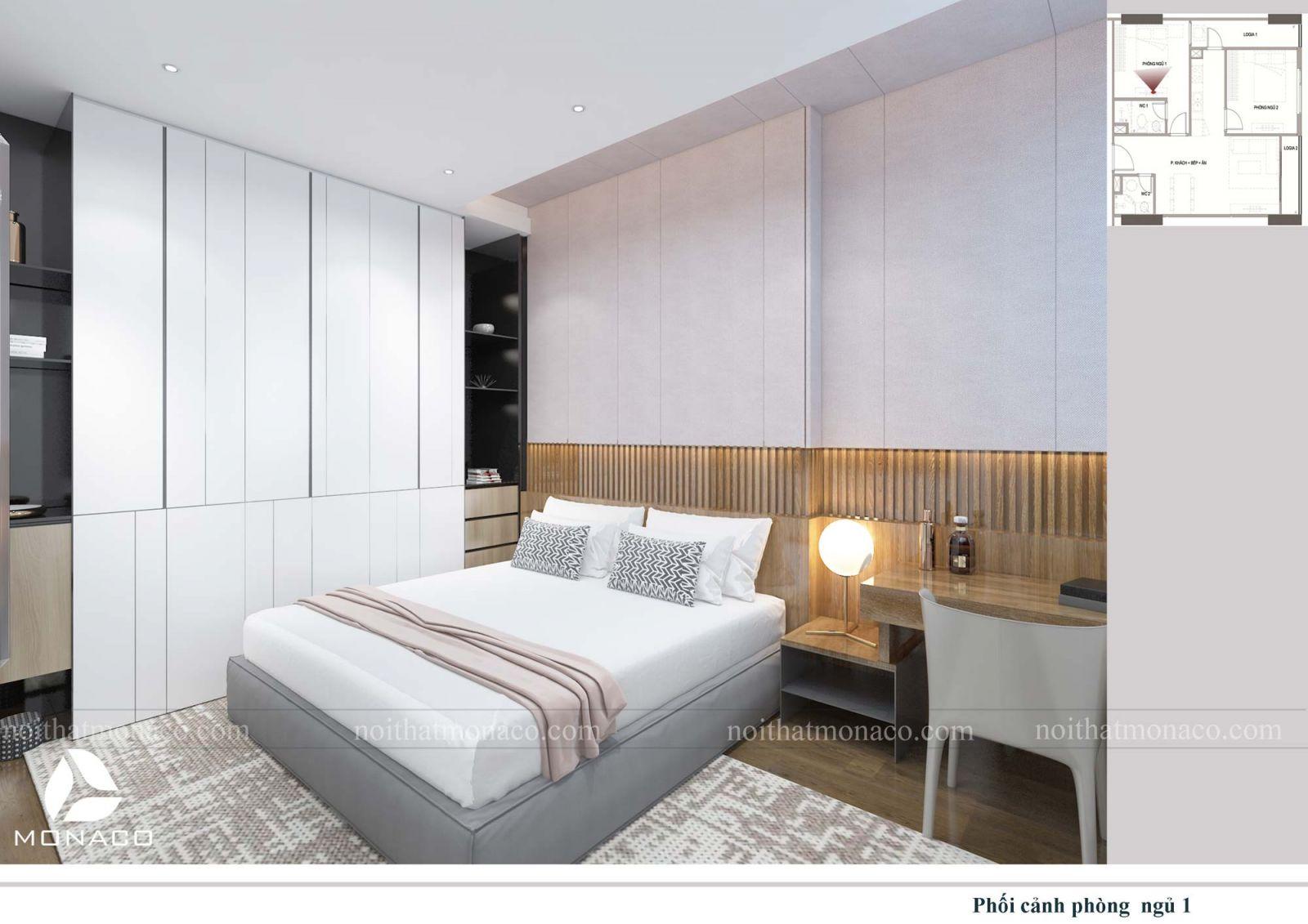 Thiết kế nội thất phòng ngủ lớn chung cư rose tower