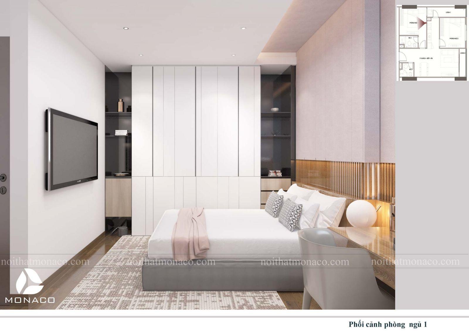Thiết kế nội thất phòng ngủ lớn 2 chung cư rose tower