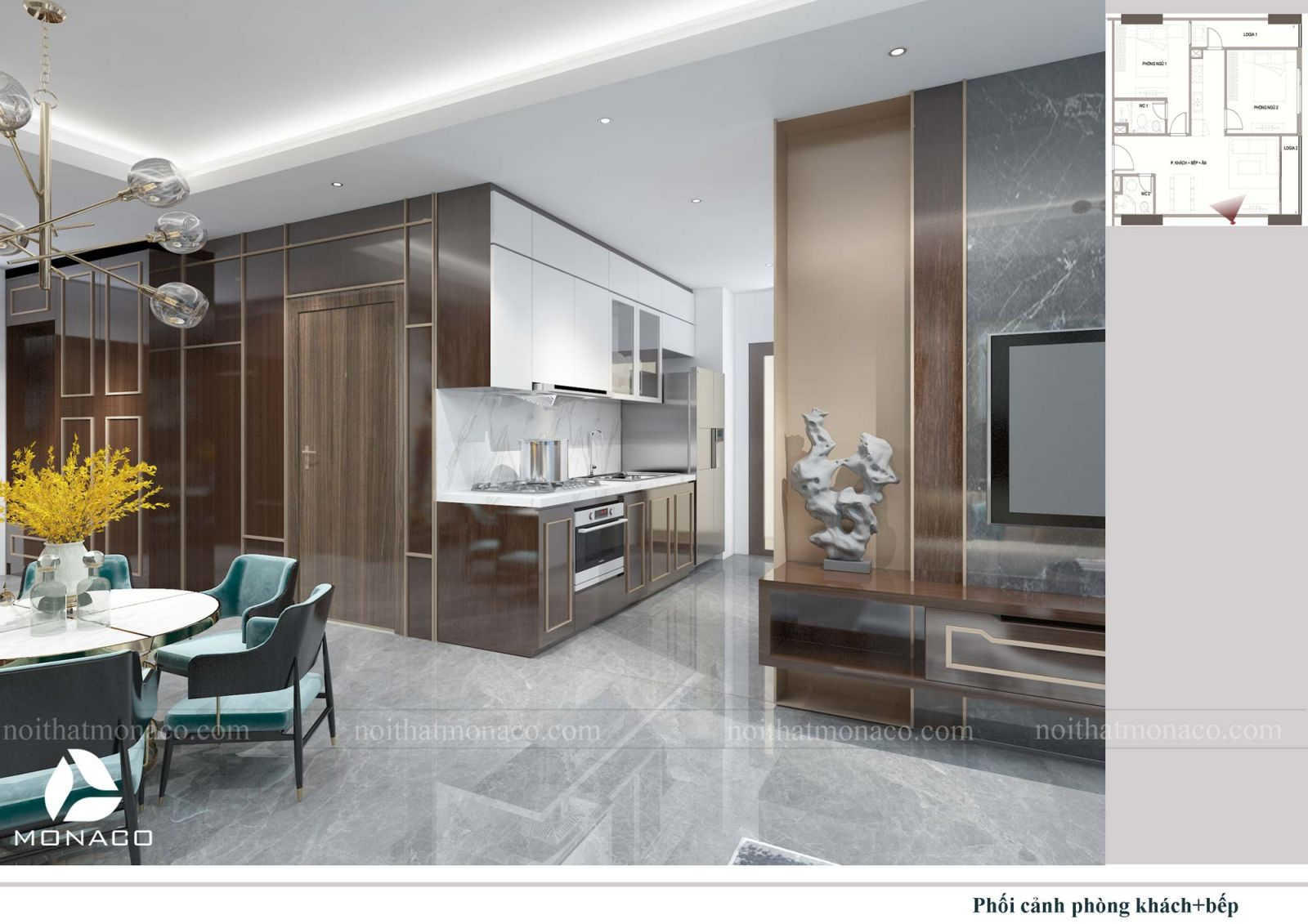 Thiết kế nội thất phòng khách + bêp chung cư rose tower 3