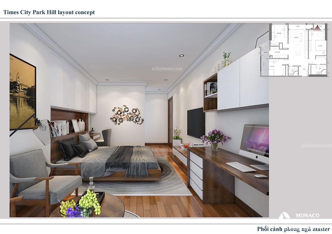 Thiết kế nội thất hiện đại chung cư Park Hill Time city- adam Thanh