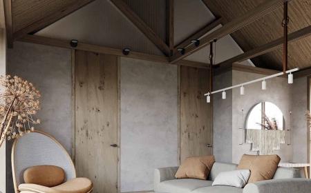 Thi Công Phòng khách và phòng bếp phong cách nội thất wabi-sabi Nhật Bản